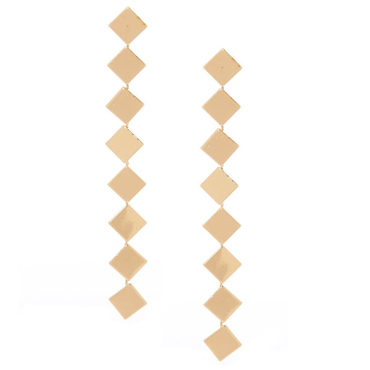 "Gold 3.5"" Square Drop Earrings,"
