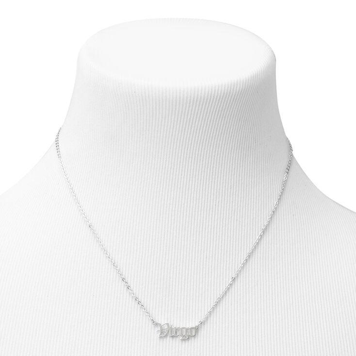 Silver Gothic Zodiac Pendant Necklace - Virgo,