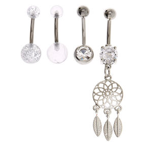 Silver 14G Disco Dreamcatcher Belly Rings - 4 Pack,