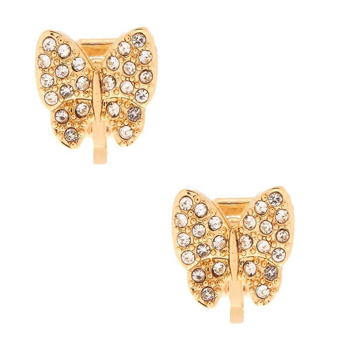 Gold Butterfly Clip On Stud Earrings,