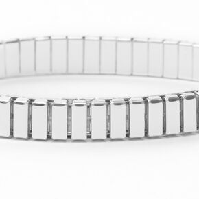 Silver Rectangle Link Stretch Bracelet,