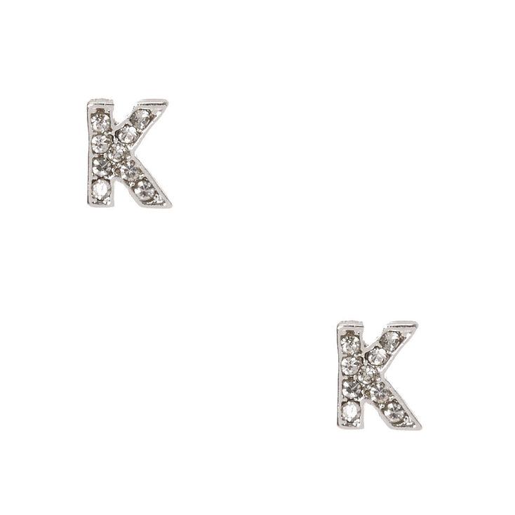 "Silver Tone Faux Crystal Initial ""K"" Stud Earrings,"