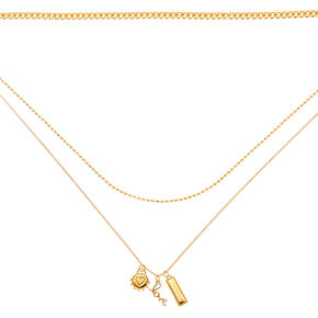 Gold Romantic Charm Multi Strand Necklace,