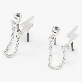 Silver Lightning Bolt Connector Chain Stud Earrings,