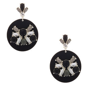 "Silver 2"" Embellished Drop Earrings - Black,"