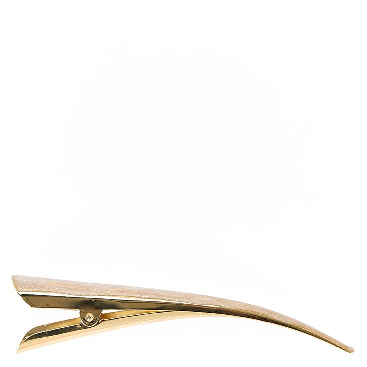 Ivory Glitter Gold Beak Hair Clip,