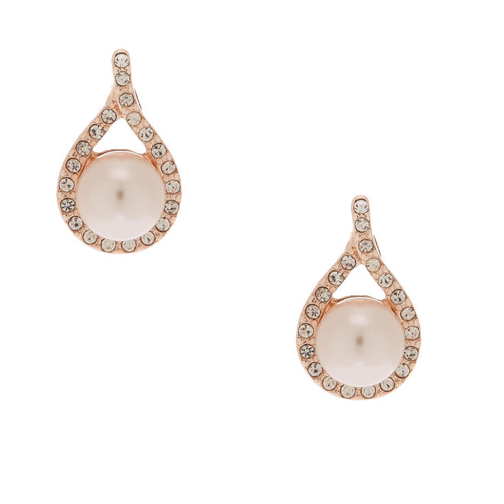 Rose Gold Pearl Pear Stud Earrings,