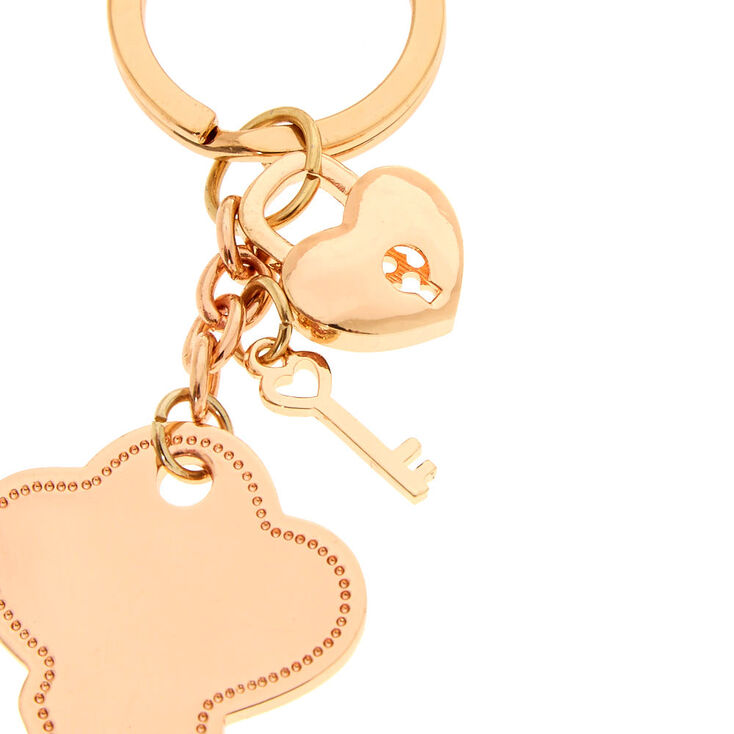 Rose Gold-Tone Key and Lock Keychain,