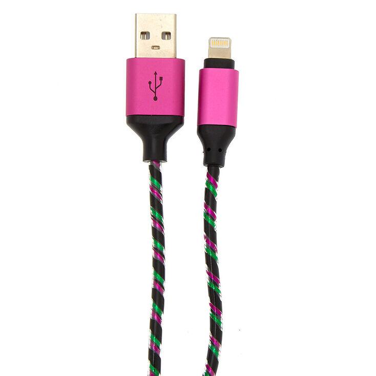 Pink & Green Lightning USB Cord - Black,