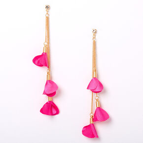 "Gold 4"" Flower Petal Drop Earrings - Pink,"