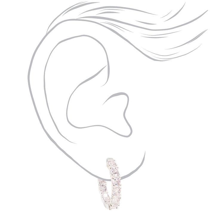 Silver 20MM Cubic Zirconia Hinge Hoop Earrings,