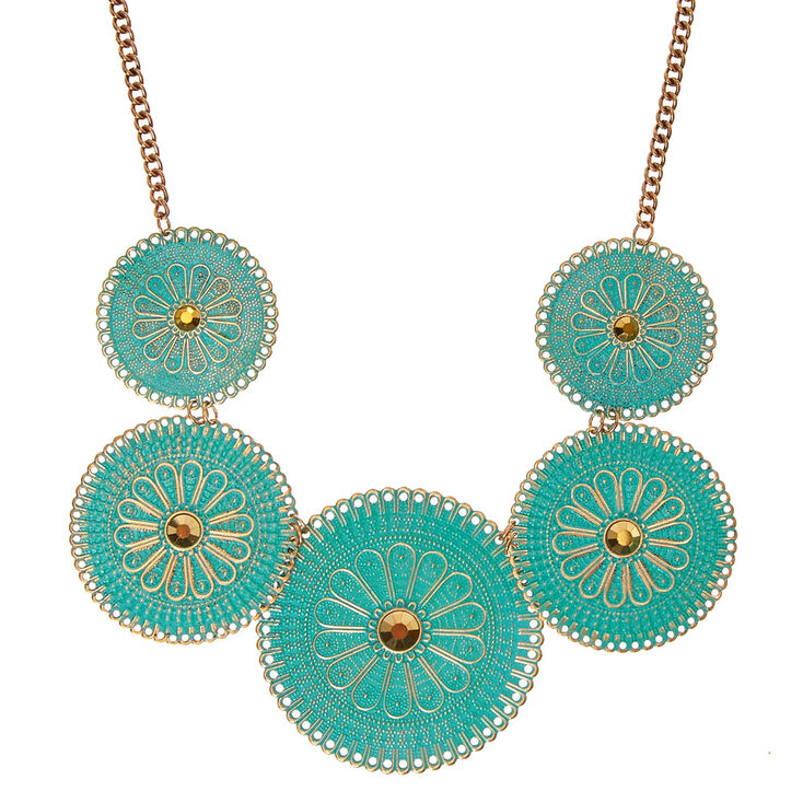 Antique Mint Filigree Disc Necklace,