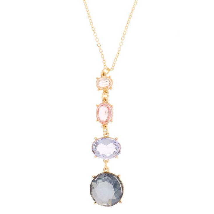 Gold Four Stone Long Pendant Necklace,