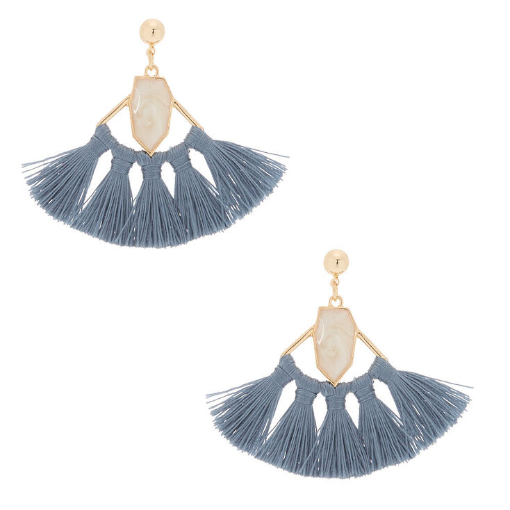 "2"" Tassel Fan Drop Earrings - Gray,"