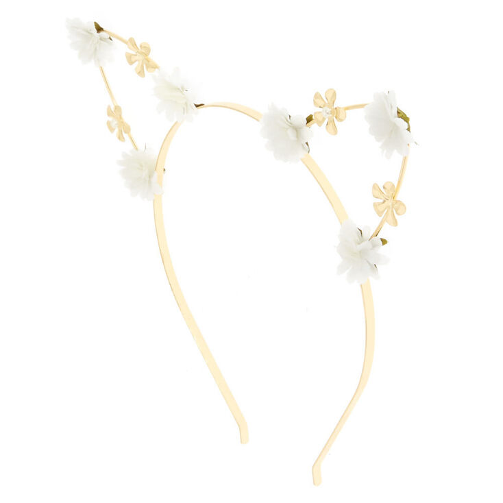 White Petal Cat Ears Headband,