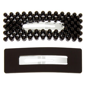 Matte Pearl Rectangle Snap Hair Clips - Black, 2 Pack,