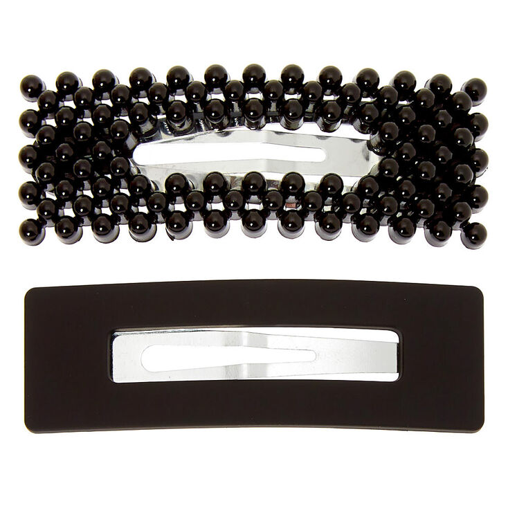 Matte Beaded Rectangle Snap Hair Clips - Black, 2 Pack,