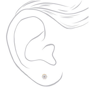 Gold Titanium Cubic Zirconia Round Stud Earrings - 7MM,