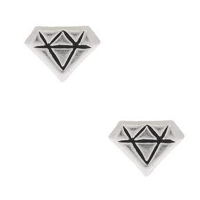 Sterling Silver Diamond Shape Stud Earrings,