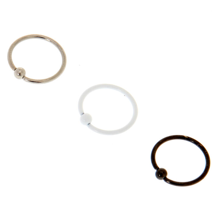 20G Mixed Metal Nose Rings 3 Pack,