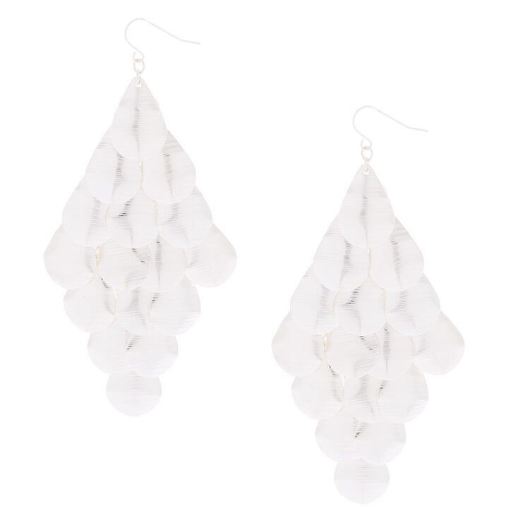 "Silver 4"" Layered Drop Earrings,"