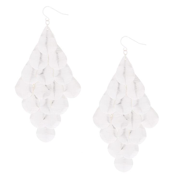 "Silver 4"" Layered Drop Earrings,"