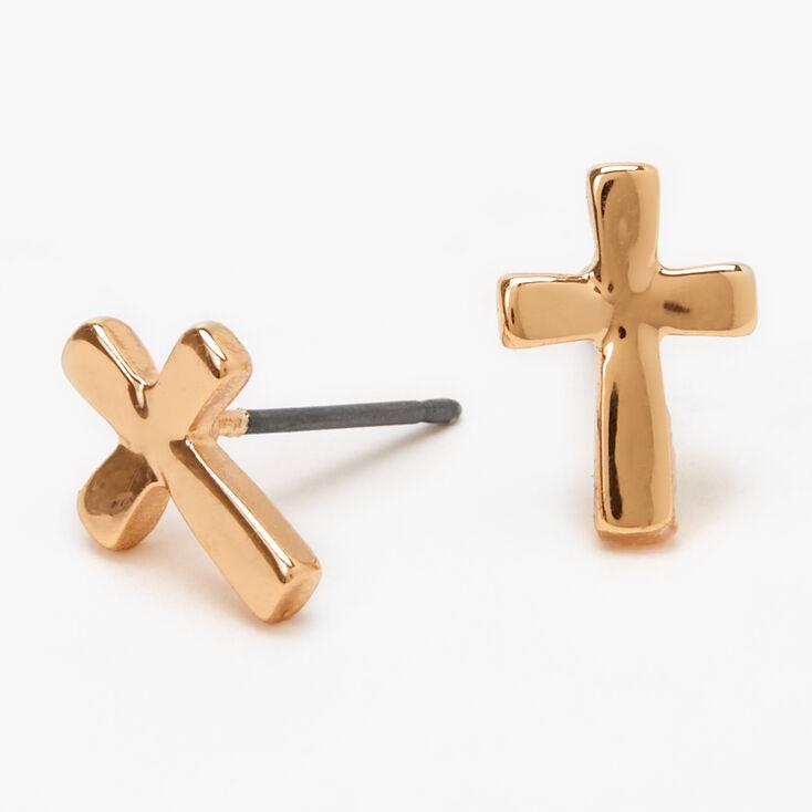 Gold Cross Stud Earrings,
