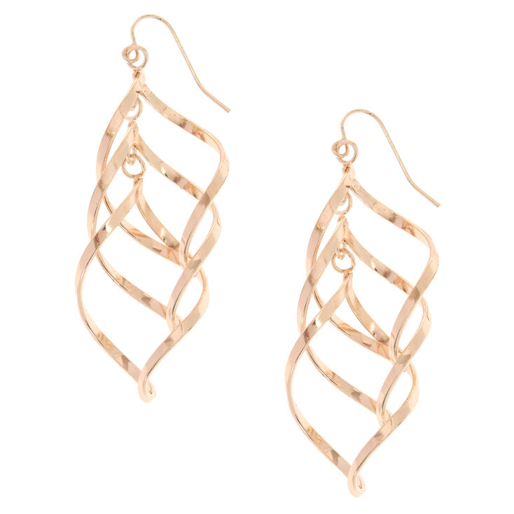Rose Gold-Tone Swirl Drop Earrings,