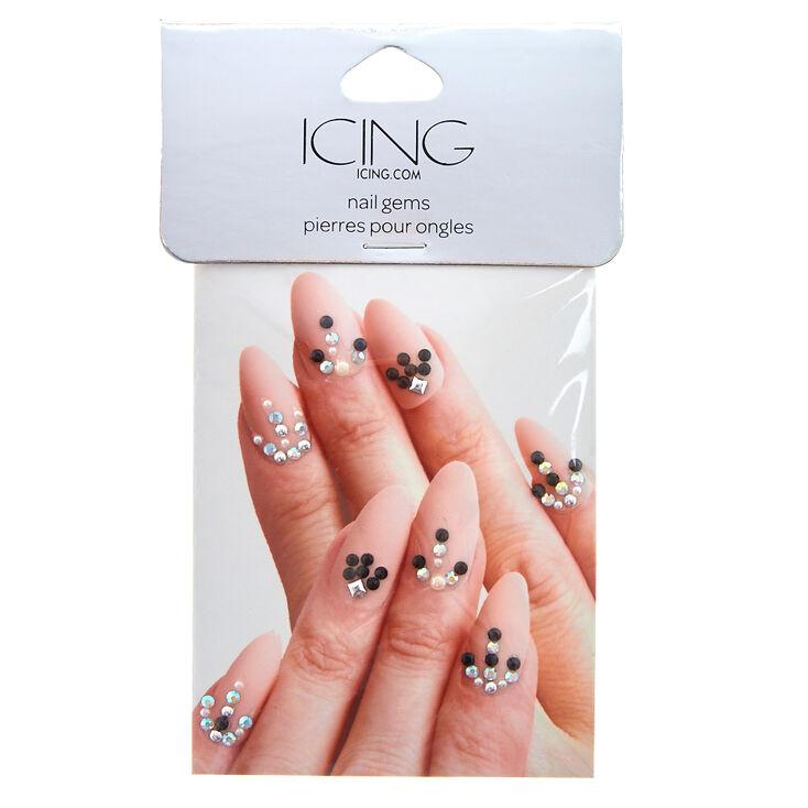 Black & Silver Nail Gems,