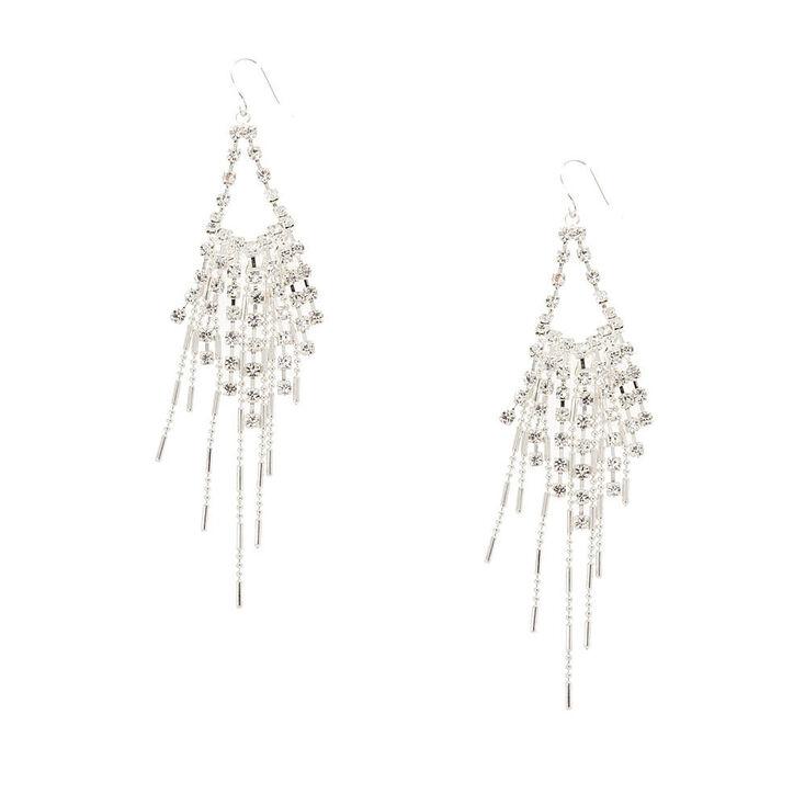 Raised Teardrop Crystal Drop Earrings,