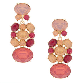 "Gold 2"" Stone Drop Earrings - Pink,"