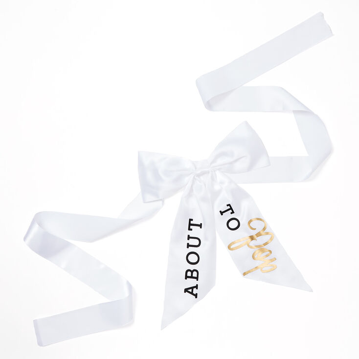 About To Pop Belly Band Bow - White,