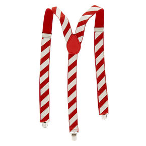 Candy Cane Christmas Suspenders - Red,