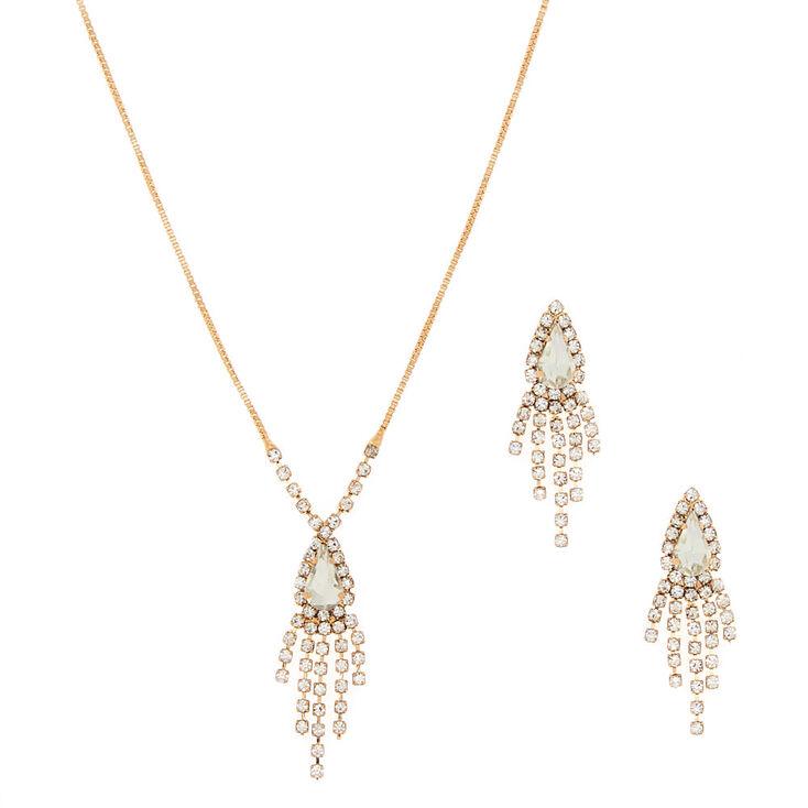 Gold Glass Rhinestone Delicate Jewelry Set - 2 Pack,