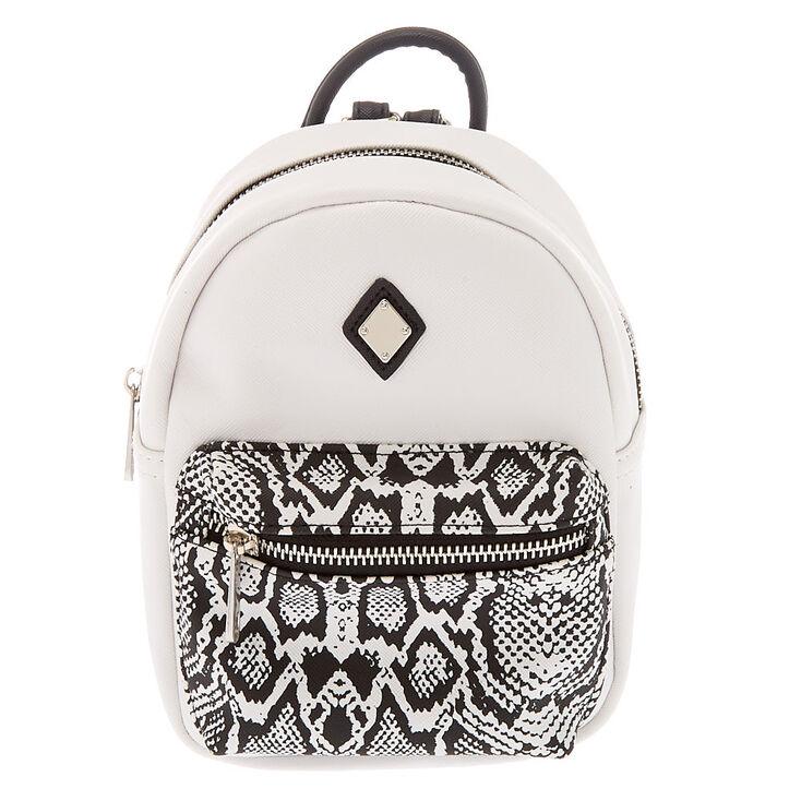 Snake Print Mini Backpack - White,