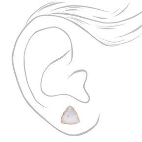 Geode Stud Earrings - White,