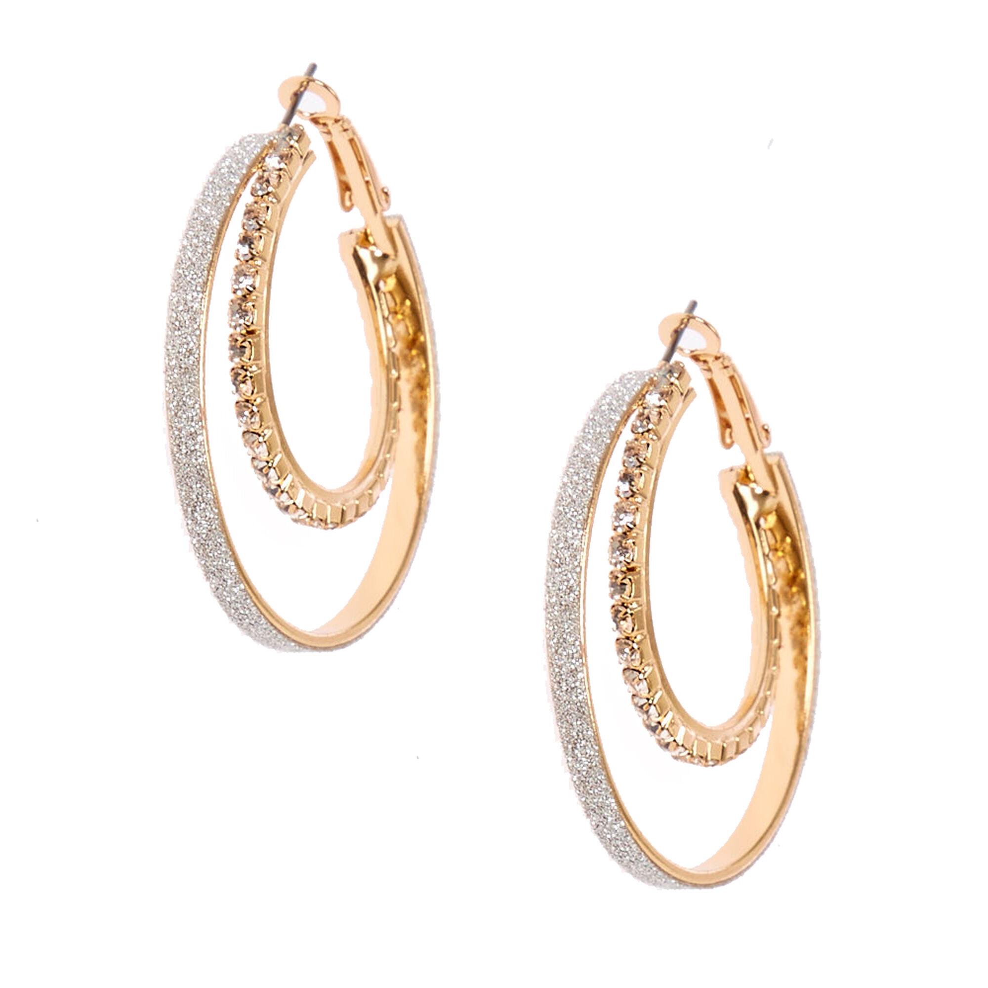 40mm Double Crystal Stone Hoop Earrings
