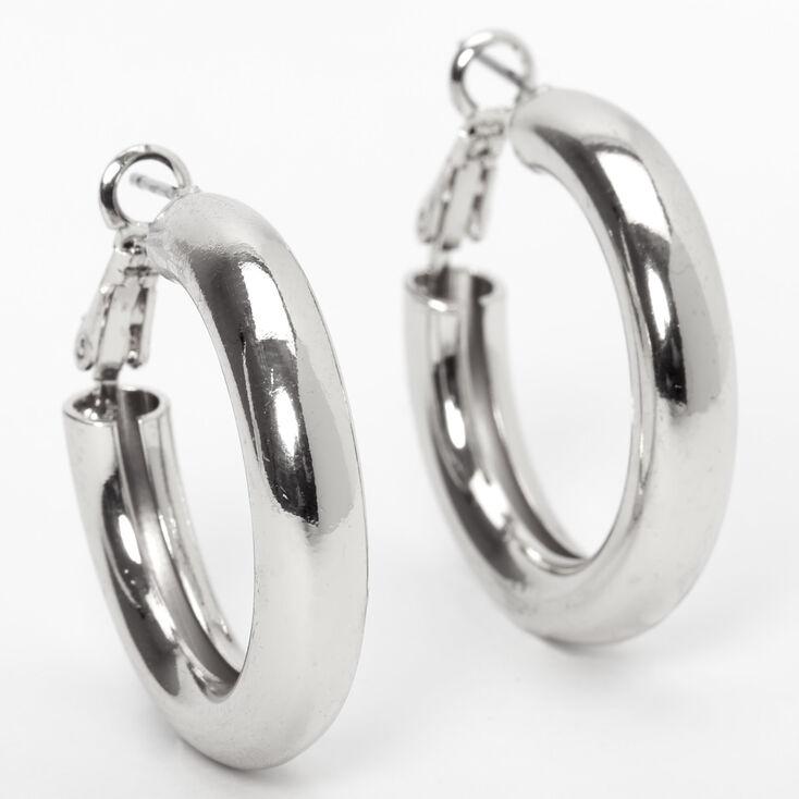 Silver 30MM Tube Hoop Earrings,