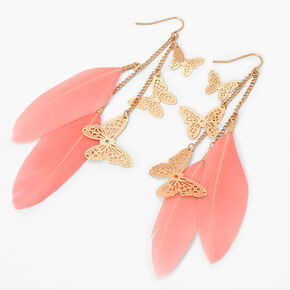 """Gold 3.5"""" Chain Feather Drop Earrings - Coral,"""
