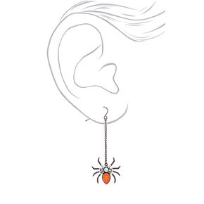 "Black 2.5"" Spider Drop Earrings,"