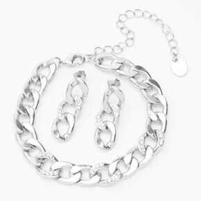 Silver Chain Link Jewelry Set - 2 Pack,
