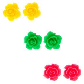 Silver Neon Flower Stud Earrings - 3 Pack,