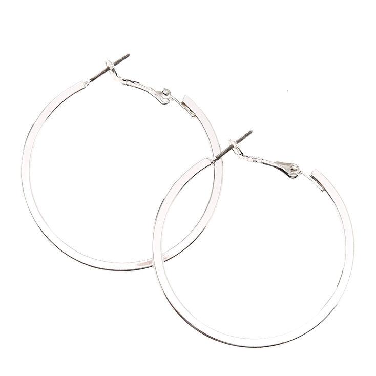 Silver 40MM Square Edge Hoop Earrings,