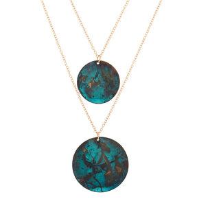 Patina Disk Long Multi Strand Necklace,