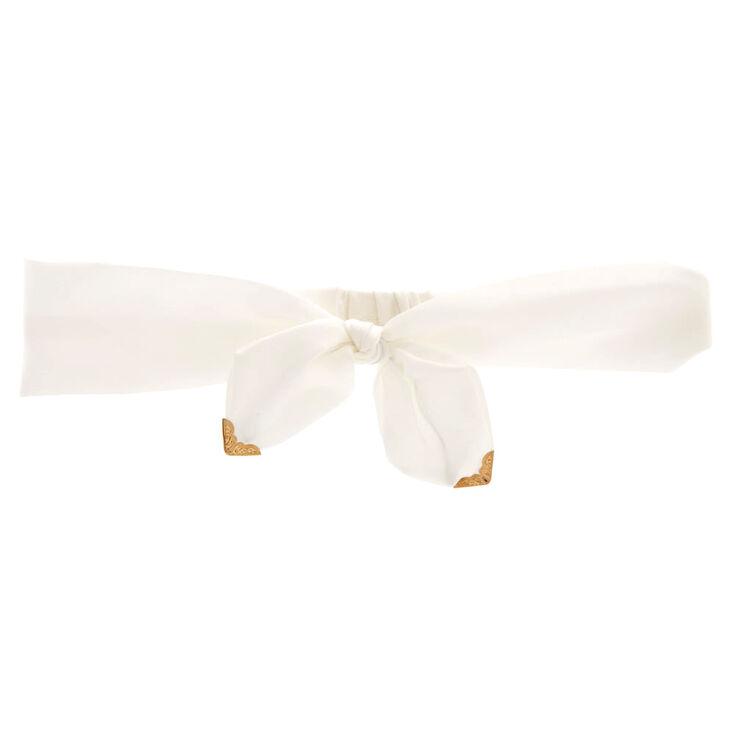 Satin White Bow Headwrap,