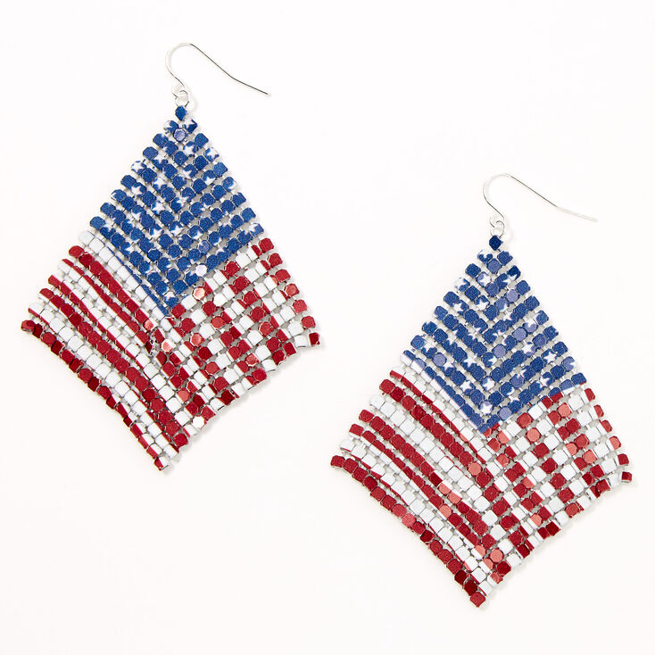 "Silver 2.5"" American Flag Mesh Chain Drop Earrings,"