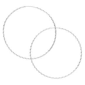 Silver 60MM Twist Hoop Earrings,