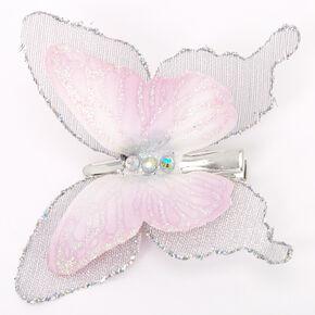Black & White Glitter Butterfly Hair Clip,