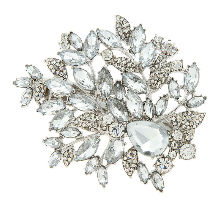 Crystal & Rhinestone Leaves Barrette,
