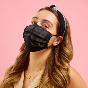 Black Tulle Pleated Face Mask - Adult,